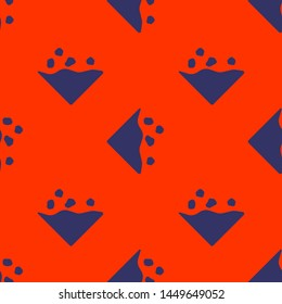 Seamless two color dark slate gray avalanche flat pattern on orange red background.
