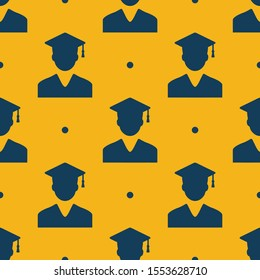 Seamless two color dark slate gray student with graduation cap flat pattern on golden rod background.