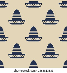 Seamless two color dark slate gray mexican hat flat pattern on wheat background.