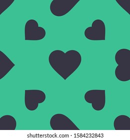 Seamless two color dark slate gray favorite heart button flat pattern on medium sea green. Background for headshots.