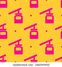 Seamless two color deep pink cable car flat pattern on gold background.