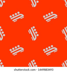 Seamless two color gainsboro bobsled flat pattern on orange red background.