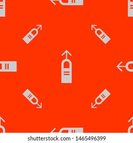 Seamless two color gainsboro one finger swipe up gesture flat pattern on orange red background.