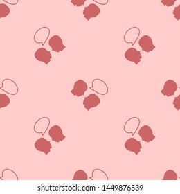 Seamless two color indian red bald professors talking flat pattern on blanched almond background.