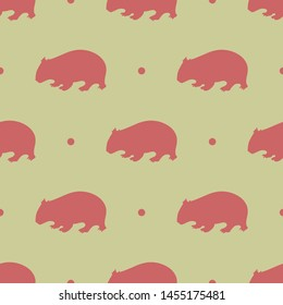 Seamless two color indian red wombat shape flat pattern on burly wood background.