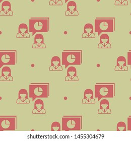 Seamless two color indian red woman talking about percentages business flat pattern on burly wood background.
