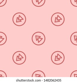 Seamless two color indian red rewind circular button flat pattern on blanched almond background.
