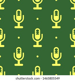Seamless two color khaki microphone holder symbol flat pattern on dark slate gray background.