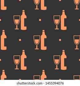 Seamless two color light salmon wine glass with drink wine bottle flat pattern on dark slate gray background.