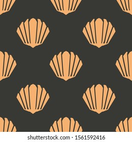 Seamless two color light salmon seashell flat pattern on dark slate gray background.