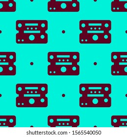 Seamless two color maroon music player two layers flat pattern on dark turquoise background.