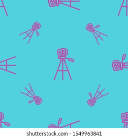 Seamless two color medium orchid tripod with camera flat pattern on medium turquoise background.