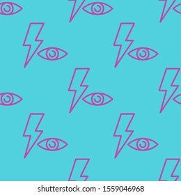Seamless two color medium orchid red eye flat pattern on medium turquoise background.