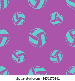 Seamless two color medium turquoise voleyball flat pattern on medium orchid background.