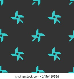 Seamless two color medium turquoise wind mill flat pattern on dark slate gray background.