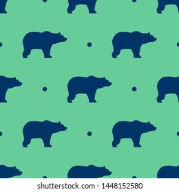Seamless two color midnight blue bear facing right flat pattern on medium aqua marine background.