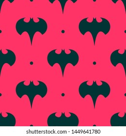 Seamless two color midnight blue batman logo silhouette flat pattern on tomato background.