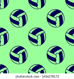 Seamless two color midnight blue voleyball flat pattern on pale green background.