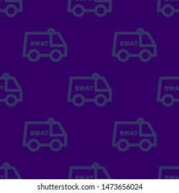 Seamless two color midnight blue swat van flat pattern on midnight blue background.