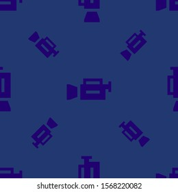 Seamless two color midnight blue video camera flat pattern on midnight blue background.