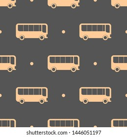 Seamless two color navajo white bus side view flat pattern on dark slate gray background.