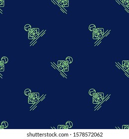 Seamless two color pale green newscaster flat pattern on midnight blue background.