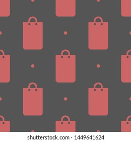 Seamless two color peru bag flat pattern on dark slate gray background.