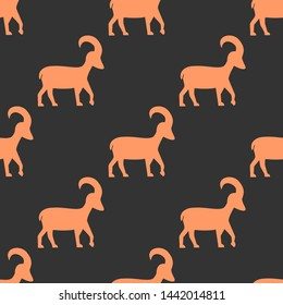Seamless two color sandy brown capricorn flat pattern on dark slate gray background.