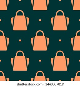 Seamless two color sandy brown bag flat pattern on black background.