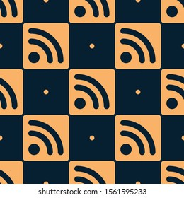 Seamless two color sandy brown rss feed square flat pattern on black background.