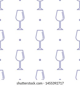 Seamless two color sky blue wine glass flat pattern on white background.