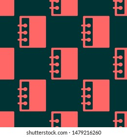Seamless two color tomato file flat pattern on midnight blue background.
