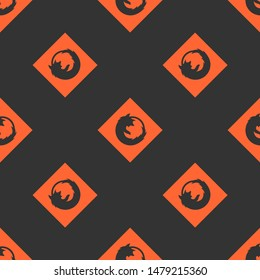 Seamless two color tomato firefox flat pattern on dark slate gray background.