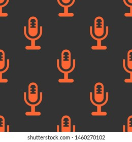 Seamless two color tomato microphone holder symbol flat pattern on dark slate gray background.
