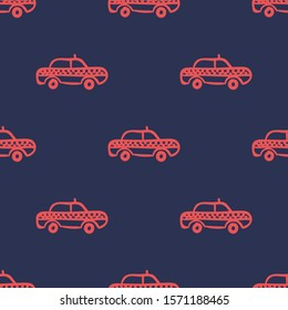 Seamless two color tomato taxi hand drawn vehicle flat pattern on dark slate gray background.