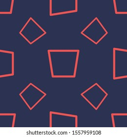 Seamless two color tomato trapeze inverted outlined shape flat pattern on dark slate gray background.