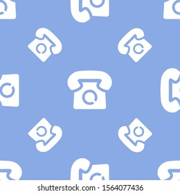 Seamless two color white telephone vintage style black shape flat pattern on sky blue background.