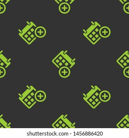 Seamless two color yellow green calendar delete button flat pattern on dark slate gray background.