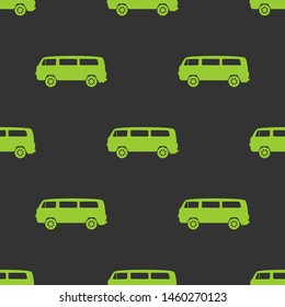 Seamless two color yellow green microbus flat pattern on dark slate gray background.