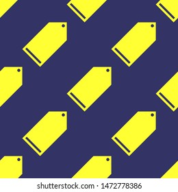 Seamless two color yellow tag flat pattern on dark slate gray background.