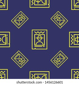 Seamless two color yellow wanted flat pattern on dark slate gray background.