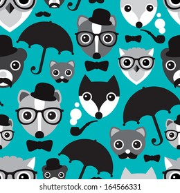 Seamless umbrella hipster owl skunk and fox illustration background pattern in vector