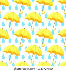 Seamless umbrella pattern with hand drawn raindrops. Cute Yellow umbrella flat style isolated on white background. Vector illustration EPS 10 file.