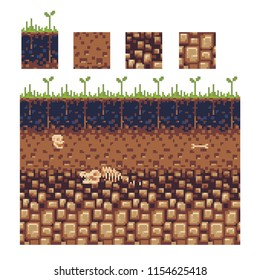 Seamless underground soil layers with green grass on top. The stratum of organic, minerals, sand, clay, parent rock. Pixel art vector illustration.