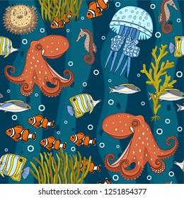 Seamless underwater pattern, vector illustration