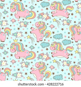 Seamless unicorn pattern with clouds, stars, crown and flowers on blue background. Cute cartoon background in japanese style. Vector illustration.