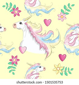 Seamless unicorn pattern with hearts, flovers, clouds, rainbow and stars.