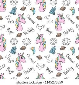 Seamless unicorn, saturn, sun star, crystal, love, donut