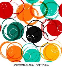 Seamless universal geometric modern pattern. Grunge texture. Circles. Vector illustration. Abstract geometric shapes
