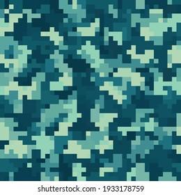 Seamless urban masking camouflage pattern. Colorful pixel blots background. Abstract fashionable camo. Beige, coast, marine blue tones.